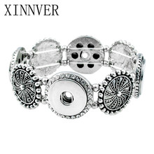 Xinnver Snap Jewelry Vintage 4 Button Snap Bracelets for 18mm Snaps Elastic Silver 18MM Snap Buttons Bracelet Bangles Wholesale(China)