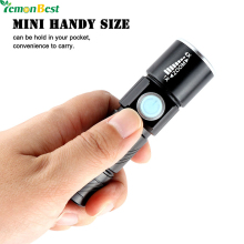 Portable Mini USB Light Rechargeable 350LM LED Flashlight Outdoor Focus Adjustable Torch 3-Mode with Strap