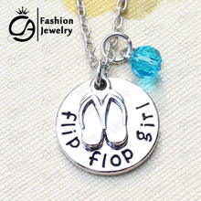 Flip flop girl Beach Charm Pendant Necklace Turquoise Crystal Christmas Gift Jewelry 20Pcs/Lot #LN1300