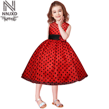 New Style Formal Dress Red Rose Birthday Wedding Party Dress for Girl Children Kids Age 4-8 Years Old Girl(China)