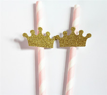 25 Pink and gold crown straws Sweet 16th birth Party decorations girl First birthday party