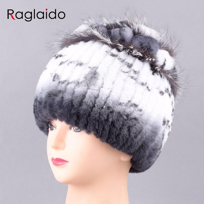 Raglaido Real Fur Hats for Women Winter Beanies Hand Knitted Sewing Rex Rabbit Hat Floral Top with Fox fur headwear LQ11239Îäåæäà è àêñåññóàðû<br><br>