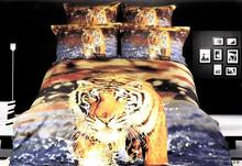 3D Tiger Bedding sets Queen size duvet cover designer 100% Cotton bed sheets quilt linen bedspread oil painting Animal print