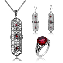 Fashion Jewellery Vintage 925 Silver Sterling Red Stones Crystal Jewelry Set Long Pendant Earring Ring Wedding Costume Jewelry