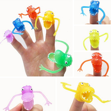 10 pieces/lot random colors Novel plastic finger puppet story Mini dinosaur toys with small finger Gashapon toys(China)