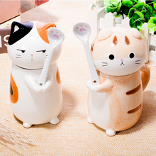 Cute Cat Style Ceramic Mugs with Lid & Spoon Cartoon Creative Moring Mug Milk Coffee Tea Unique Porcelain Cups 275ml(China)