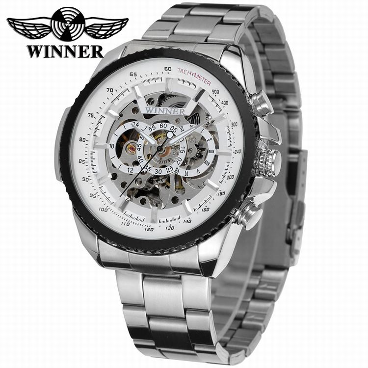 2017 WINNER Fashion Design Black mechanical Watch Steel Automatic watch men black stainless steel band business Relogio Male <br><br>Aliexpress