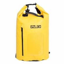 GZLBO 40L recyled Yellow PVC sack roll top waterproof water dry bag with Adjustable Strap Hook with zipper pocket(China)