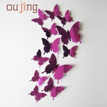Fashion Best Selling  Wall Stickers Decal Butterflies 3D Mirror Wall Art Home Decors Free Shiping Aug15