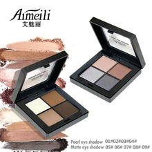 NOVO Four-color Eye Shadow Ai Mei Li Pattern True Color Bright Smoke Makeup Earth Color Waterproof Pearl Matte(China)