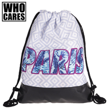 Pink Paris Blue Leaf Printed Leather Bottom Backpack Women 2017 Brand New Summer Beach Travel Leisure Bag Mochila Drawstring Bag