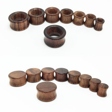 2pcs fashion flesh tunnels ear plugs big gauge piercing expander brown Bubinga rose wood 8mm - 20mm pircing body jewelry for men(China)