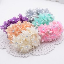 6pcs Artificial flowers roses gauze diamond wedding shoes headdress DIY home decoration artificial flowers bridal wreath collage