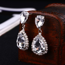 Bride earrings cosmetic geo zhaohao popular rhinestone crystal drop earring wedding dress baldpates #E043(China)