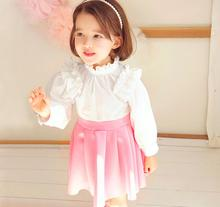 Promotion Baby Girls Cotton Beading Pleats Long Sleeve Dresses, Princess Kids Fall Boutique Elegant Pink Dress Retail