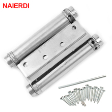2PCS NAIERDI 3-5 Inch Double Action Spring Door Hinge Stainless Steel Rebound Hinges For Cafe Swing Western Furniture Hardware(China)