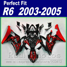 Hot sale body work for YAMAHA R6 fairing kit 2003 2004 2005 red  flame in black  Fairing YZF fairings 03 04 05