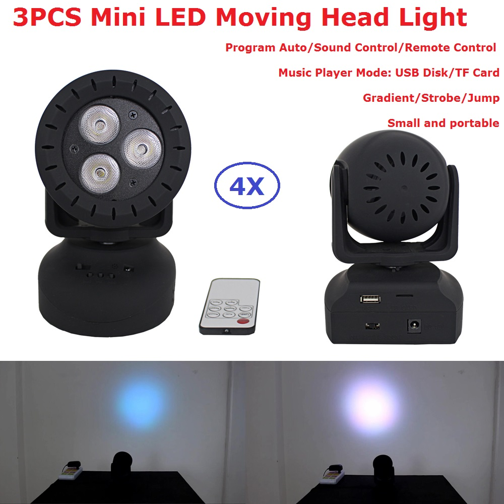 4 Pack Mini Size Moving Head Stage Lights 3X3W RGB Full Color LED Moving Head Wash Lights With Strobe Effect CE&amp;RoHS<br>