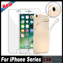 Ultra-thin Camera Lens Tempered Glass Screen Protector Film TPU Soft Silicon Case Cover For iPhone 7 6 6S Plus 5 5C 5S SE 4 4S
