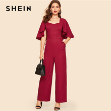 249dac3c8c6 SHEIN Vintage Burgundy Sweetheart Neck Double Breasted Flounce Sleeve Jumpsuit  Women Workwear Office Lady Wide Leg Jumpsuits