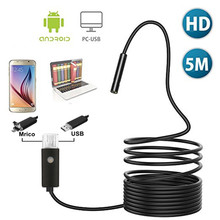 2/5/10M USB Endoscope 2 in 1 mirco&USB plug Borescope Inspection Camera 2.0MP CMOS HD Waterproof Snake Camera for Android Tablet(China)