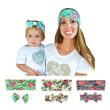 Mom and Me Fashion Elastic Rabbit Hair Bow Style Hairbands Headband Top Knot Turban Hair Bands Accessories Barrette kt040