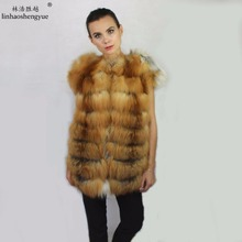 linhaoshengyue 70CM real red fox fur women vest winter warm fashion warm freeshipping