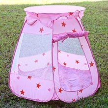 Kids Play Game Tents Pink Folding Princess Castle Play Tent Portable Outdoor Indoor Garden Playhouse Toy Sports Tent + Buggy Bag