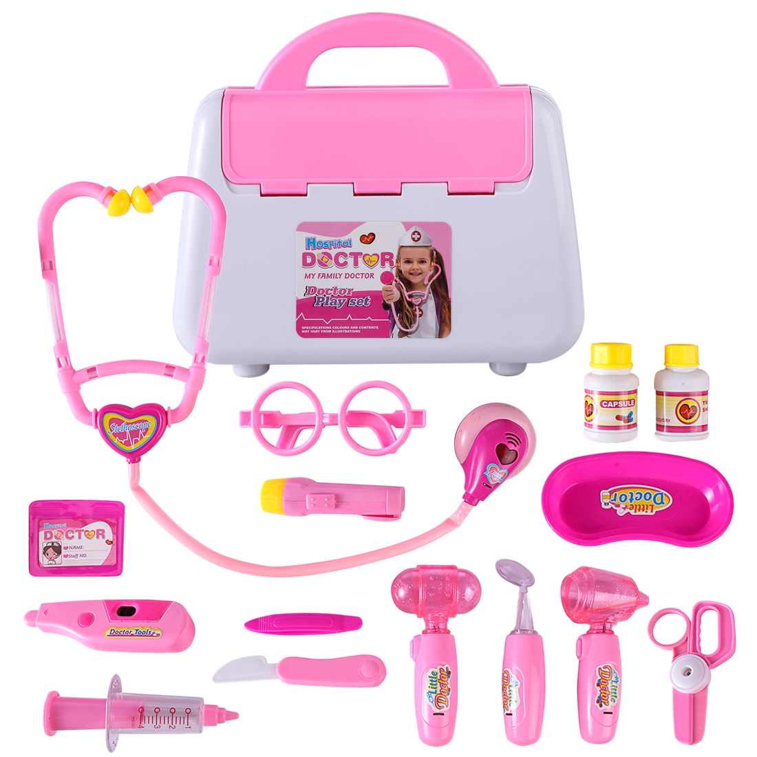 Pink Childrens Kids Role Play Doctor Nurses Toy Set Medical Kit NEW