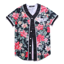 New fashion 2016 summer mens hip hop tops tees short sleeve floral t shirt for men KanyeWest hiphop baseball shirts