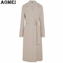 Women Fashion Long Wool Coats Beige Wear to Work Office Lady Outwear Clothing Tweed 2018 New Winter Fall Spring Overcoat Cape(China)