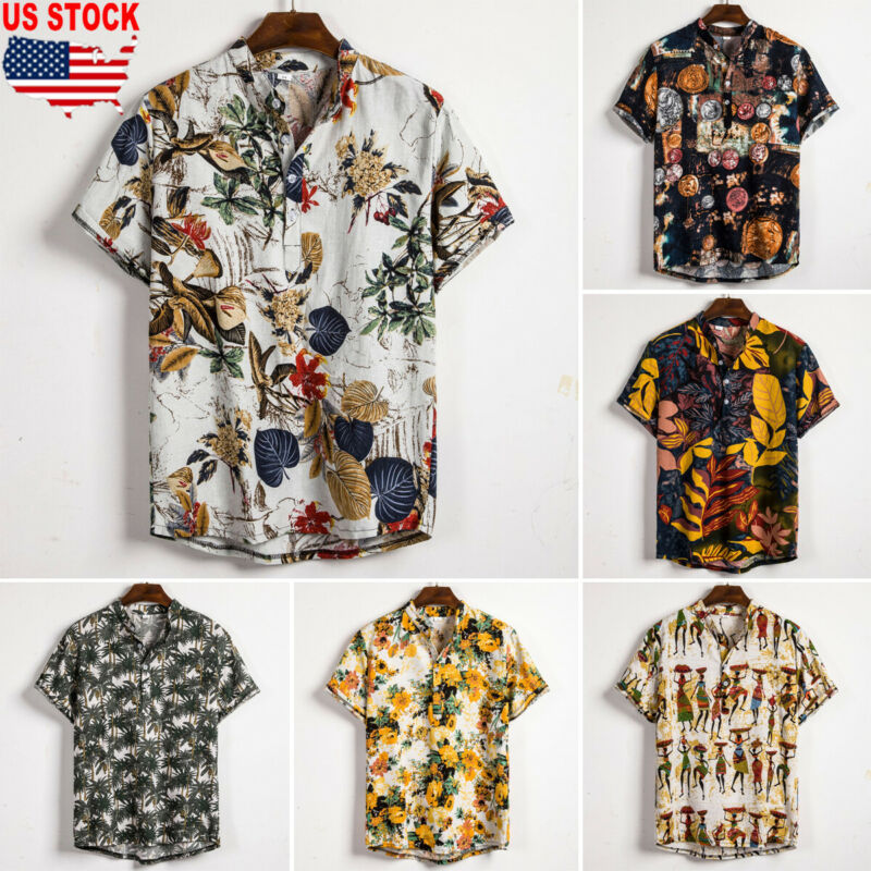 Men Linen Short Sleeve Shirt Summer Floral Loose Baggy Casual Holiday Shirts Tee Tops title=