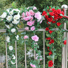 1Pc 9 Heads Artificial Rose Garland Silk Flowers Vine Ivy Home Wedding Decor