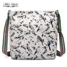 YD1104 Miss Lulu Women Messenger Bags Bird Flower Horse Canvas School Bags Cross Body Bags for Girls Satchel Saddle Slouchy Bag