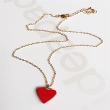 XQ 2016 free shippingDo fashionable woman little red hearts chain necklace with the collar bone