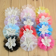 20pcs/lot 7.5CM Kids Girls Tulle Mesh Chiffon Flowers Lace Fabric Flower Hair Bow Center Flat Back For Headband Hair Accesorries(China)
