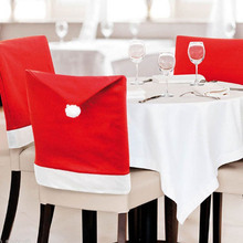 1Pcs Christmas Red Chair Covers Festival Party Home Decoration Dinner Table Santa Hat Ornaments 60x50cm 2017(China)