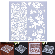 1Pc Plastic Stencil Rose Flower Cake Mold Fondant Template Cookies Baking Cake Decorating Tools 13X13X0.1cm(China)