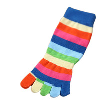 Random Color!!  Spring Rainbow Colorful Stripes Children's Warm Cotton Five Fingers Toe Socks For 4-8 Years Old Girls & Boys