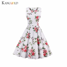 Buy KANCOOLD dress O-Neck White daisy flowers chrysanthemum print retro dress Sleeveless O-Neck Vintage sexy dress women dec7 for $16.87 in AliExpress store