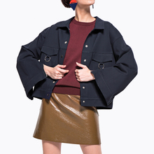 Single breasted flare sleeve short jackets womens khaki jackets ladies casuak blue jackets loose outwear plus size cropped coats