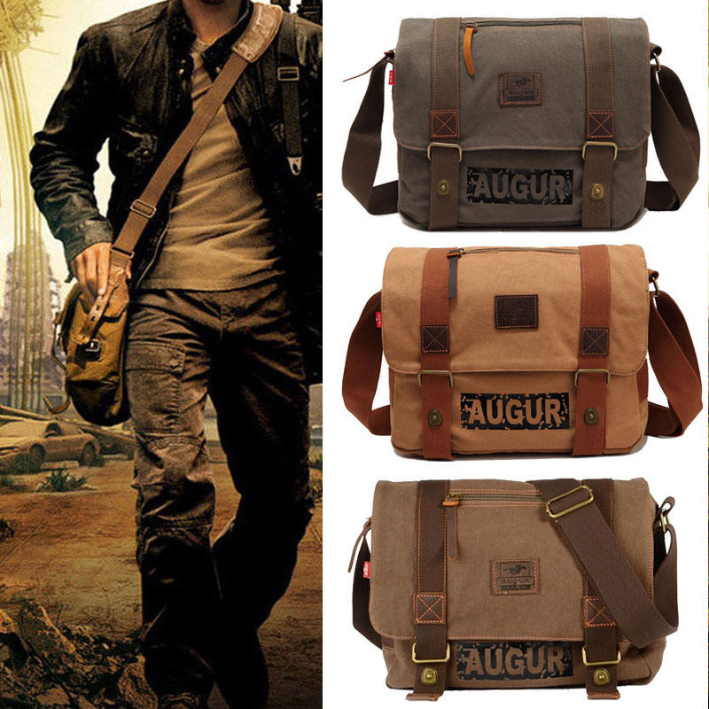 Mens Vintage Canvas Satchel Messenger Bag School Military Shoulder Bag Boys Travel Handbag Free shipping<br><br>Aliexpress