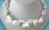 002370 charming huge white SOUTH Reborn Keshi Pearls necklace(China)
