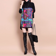 A knitted bat sleeve dress 2017 female fashion color code and long sleeved wool loose(China)