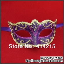 Free Shipping High Quality Purple And Gold Venetian Party Style Small Masquerade Masks