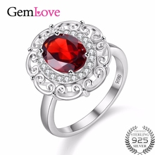 Gemlove Gemstones Garnet Ring Silver-925-Jewelry Womens Wedding Sterling Silver Rings Real Diamond Ring Anello Donna 40% FJ111