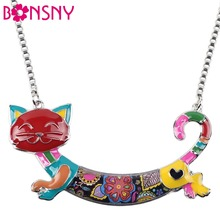 Bonsny Statement Maxi Alloy Enamel Cat Choker Necklace Chain Pendant Collar 2017 Fashion New Enamel Jewelry Women(China)