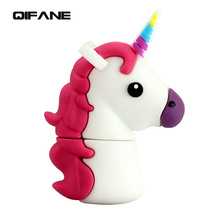 QIFANE Creative Cartoon pony U Disk 32G memory stick 16GB  pen drive 8GB 64GB USB Flash Drive Lovely Unicorn usb Free shipping