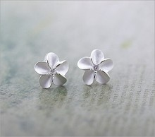 2014 New Statement Wedding Sand blasting process Earrings Flower Earrings 925 Sterling silver Stud Earrings For Women Jewelry