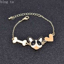 Bing Tu Women Gold Color Bracelets Cute Animal Dog Bones Heart Bracelet Bangle Enamel Animal Cartoon Jewelry Kids Gift bijoux